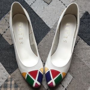 Vintage White Leather Geometric Color Wedges